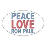 Peace Love Ron Paul Oval Sticker (10 pk)
