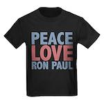 Peace Love Ron Paul Kids Dark T-Shirt