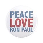 "Peace Love Ron Paul 3.5"" Button (100 pack)"