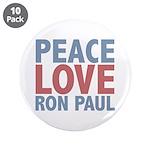 "Peace Love Ron Paul 3.5"" Button (10 pack)"