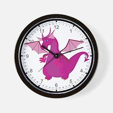Pink Dragon Wall Clock