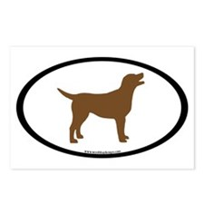 chocolate lab oval Postcards (Package of 8)