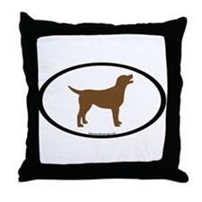 chocolate lab oval Throw Pillow
