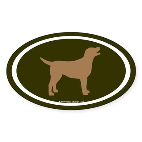 chocolate lab oval (wh/br/olive) Oval Sticker