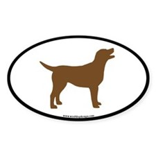 chocolate lab oval (black border) Oval Decal