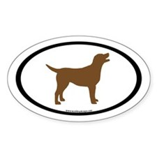 chocolate lab oval (inner border) Oval Decal