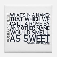 Romeo & Juliet Rose Quote Tile Coaster