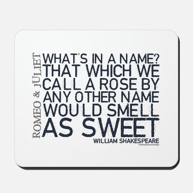 Romeo & Juliet Rose Quote Mousepad