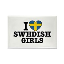 I Love Swedish Girls Rectangle Magnet