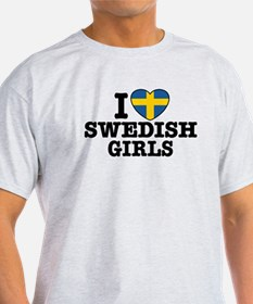 I Love Swedish Girls Ash Grey T-Shirt