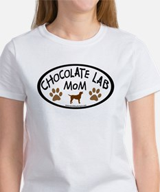 chocolate lab mom oval Women's T-Shirt