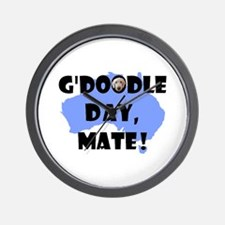 G'Doodle Day, Mate Aussie Labradoodle Wall Clock