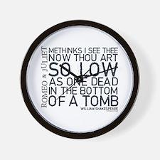 Romeo & Juliet Tomb Quote Wall Clock