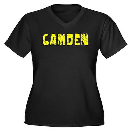Camden Faded (Gold) Women's Plus Size V-Neck Dark
