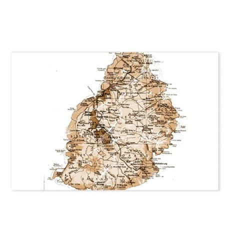Mauritius map 2 Postcards (Package of 8)