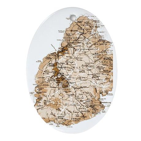 Mauritius map 2 Oval Ornament