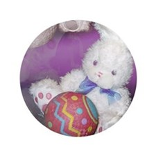 "Stuffed Easter Bunny w/ Ball 3.5"" Button"