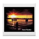 Sunset fishing Tile Coaster