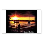 Sunset fishing Rectangle Sticker