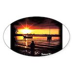 Sunset fishing Oval Sticker