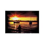 Sunset fishing Rectangle Magnet (10 pack)