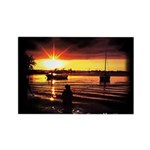 Sunset fishing Rectangle Magnet (100 pack)