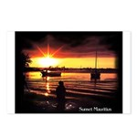 Sunset fishing Postcards (Package of 8)