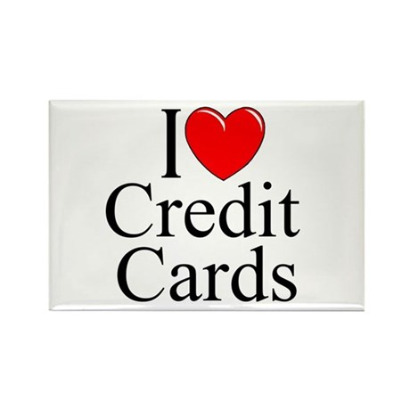 """I Love (Heart) Credit Cards"" Rectangle Magnet"