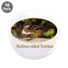 """Rufous-sided Towhee 3.5"""" Button (10 pack)"""