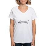 One Weiner Dog Women's V-Neck T-Shirt