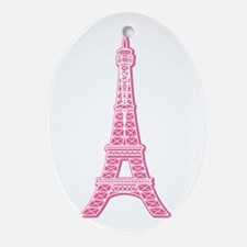 Pink Eiffel Tower Oval Ornament