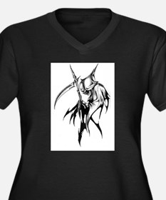 Gothic Grim reaper artwork Women's Plus Size V-Nec