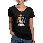 Montag Family Crest Women's V-Neck Dark T-Shirt