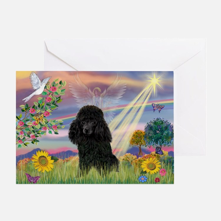 Cloud Angel & Poodle (#2) Greeting Card