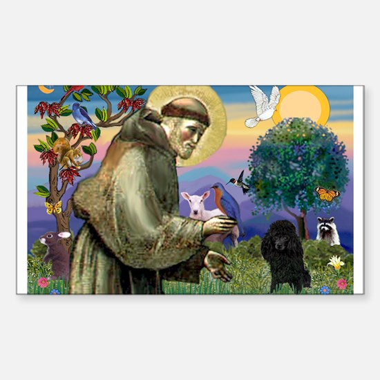 St. Francis & Black Poodle #2 Sticker (Rectangula