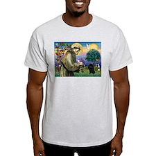 St. Francis & Black Poodle #2 T-Shirt