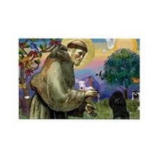 St. Francis & Black Poodle #2 Rectangle Magnet