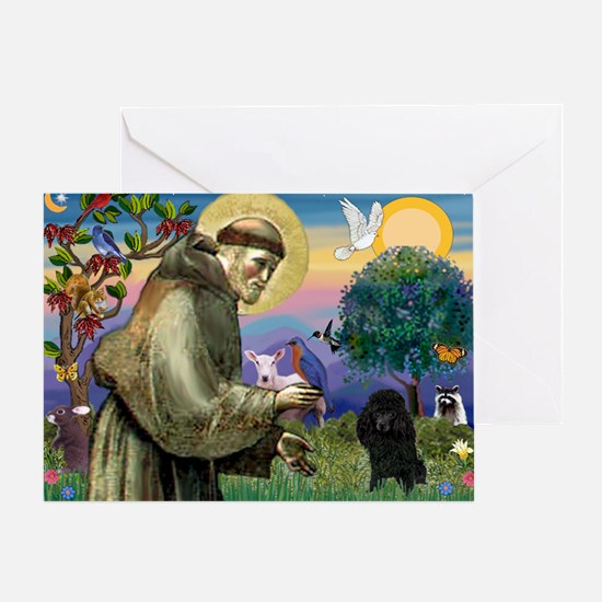 St. Francis & Black Poodle #2 Greeting Card