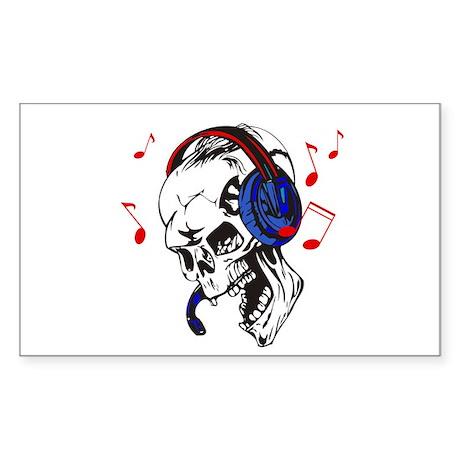 DJ Skull Rectangle Sticker