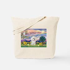 Cloud Angel & White Poodle Tote Bag