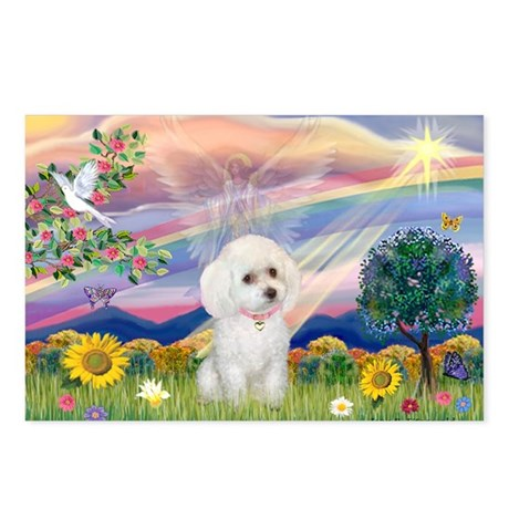 Cloud Angel & White Poodle Postcards (Package of 8