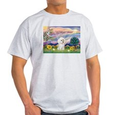 Cloud Angel & White Poodle T-Shirt