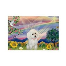 Cloud Angel & White Poodle Rectangle Magnet