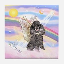 Silver Poodle Angel Tile Coaster