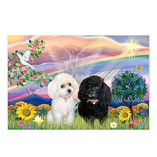 Cloud Angel & 2 Poodles Postcards (Package of 8)