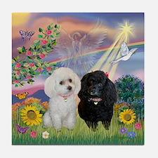 Cloud Angel & 2 Poodles Tile Coaster