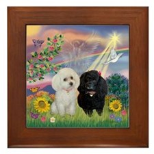 Cloud Angel & 2 Poodles Framed Tile