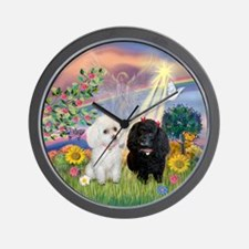 Cloud Angel & 2 Poodles Wall Clock