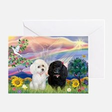 Cloud Angel & 2 Poodles Greeting Card