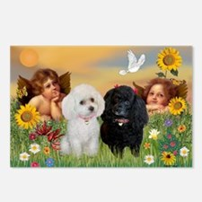Two Angels/2 Poodles Postcards (Package of 8)